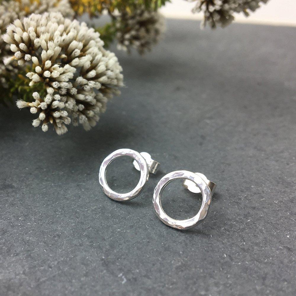Handmade sterling silver circle earrings