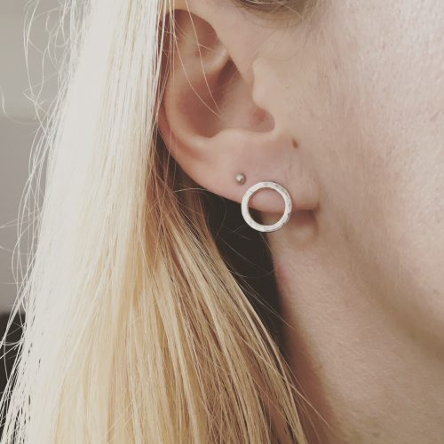 Silver earrings circle earrings