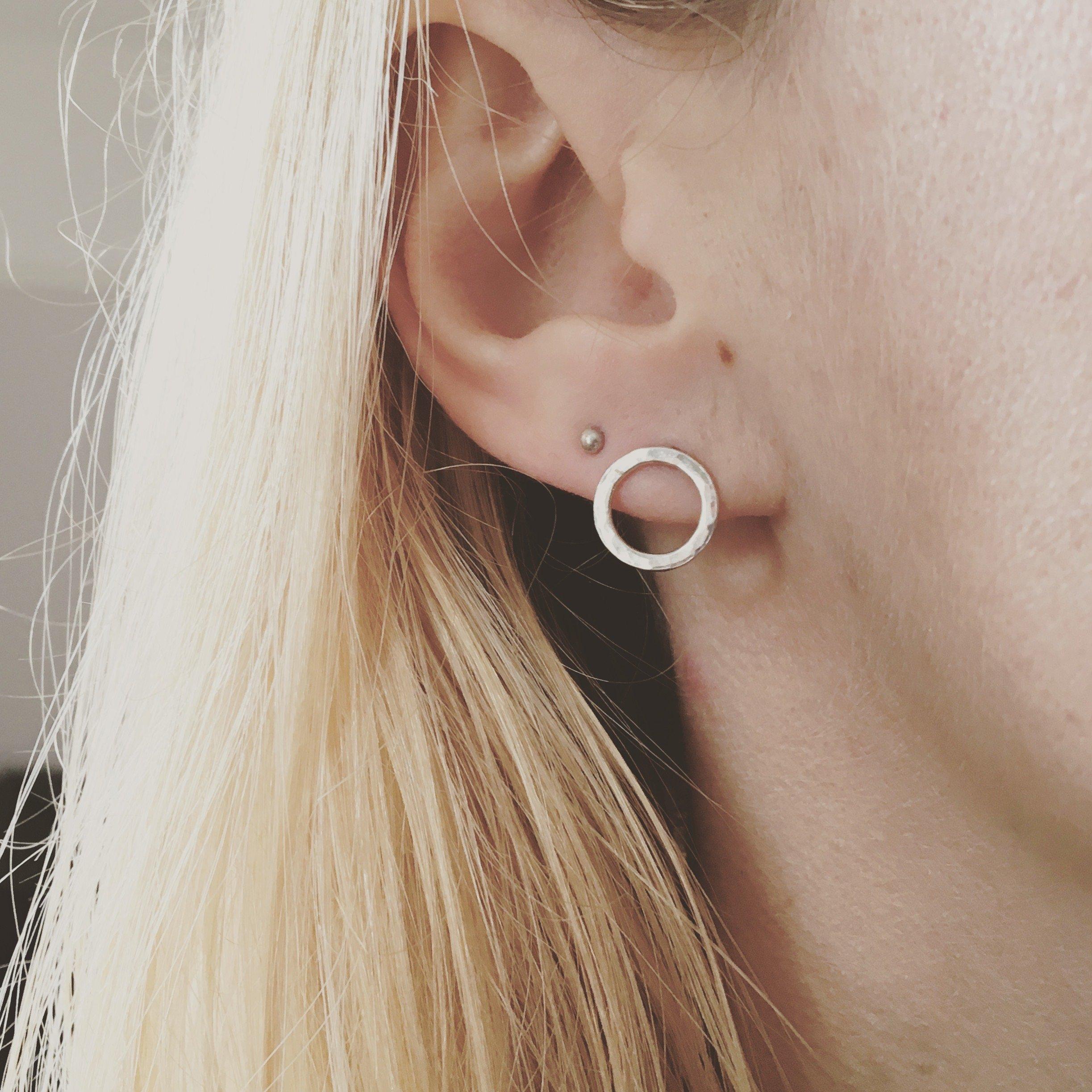 Silver earrings circle earrings