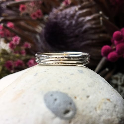 Sterling silver skinny stacking rings set of three stacked