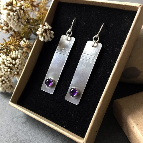 minerals rock studio sterling silver amethsyt earrings