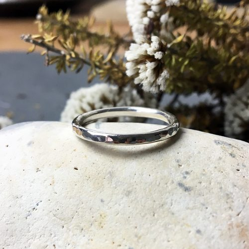 Hammered sterling silver ring dotted