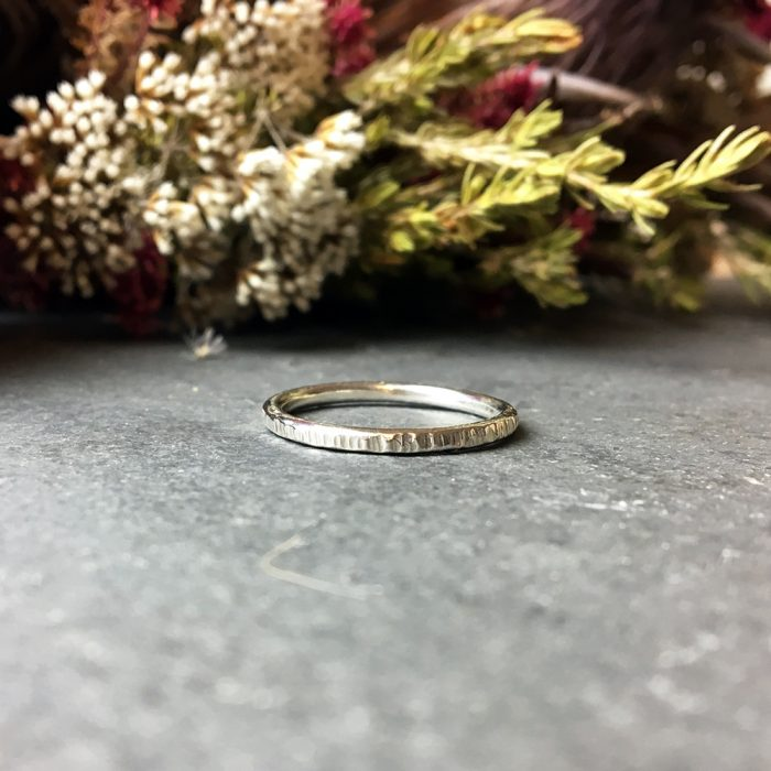 Hammered sterling silver ring striped