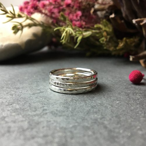Sterling silver stacking rings trio handmade jewellery hampshire