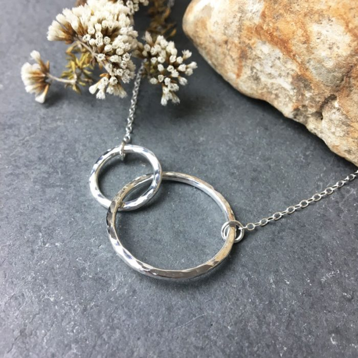Sterling silver infinity necklace hammered jewellery