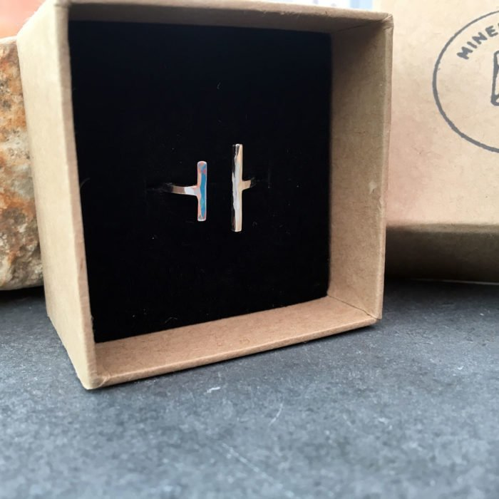 silver hammered bar ring boxed