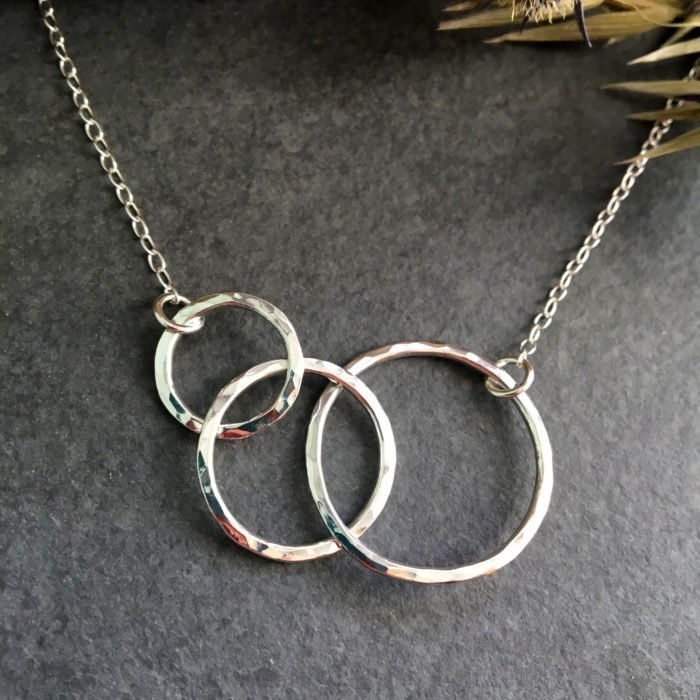 three circles silver necklace front