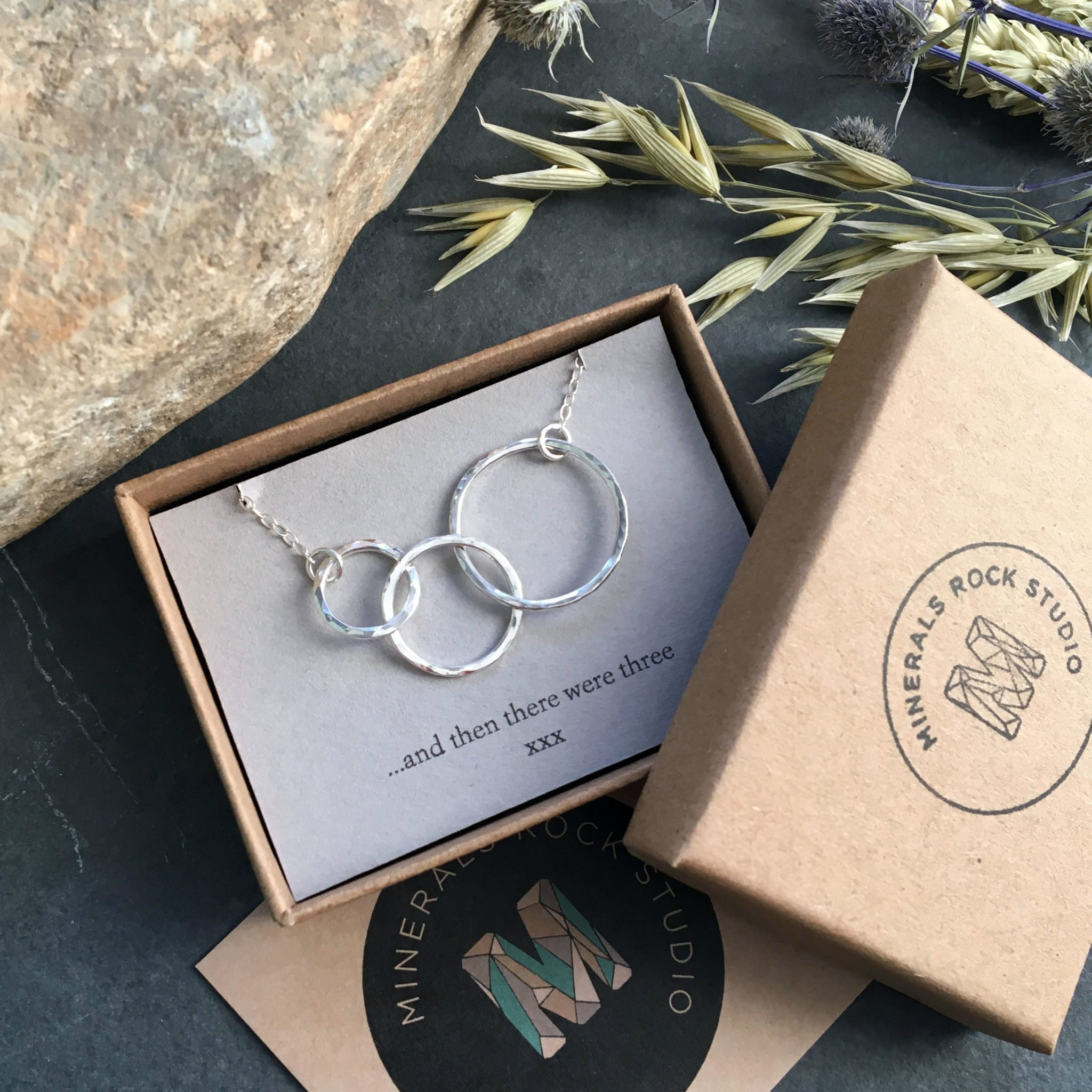 three circles silver necklace with gift message