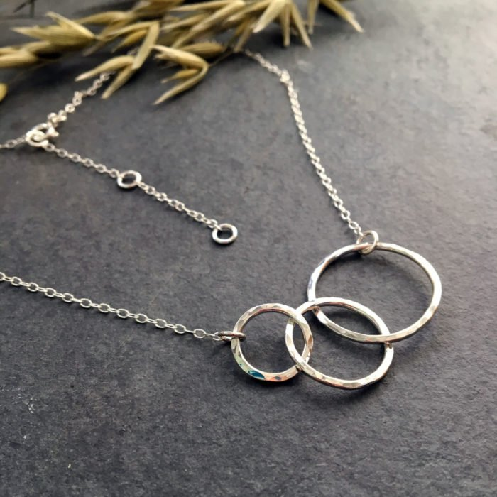 three circles silver necklace chain