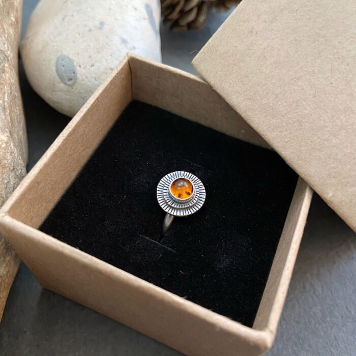 amber ring in box